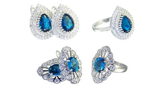 sapphire earrings and ring